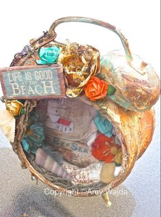 #altered beach theme Tim Holtz clock!! #scrapbooking #crafts
