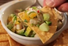 This mahi mahi ceviche is such a vibrant, fresh and light appetizer with lively flavors. It's an all round winner and perfect for summer. Chef Jorge uses non-traditional ingredients like orange segments, radishes and chives   It is so refreshing, I am not a big fan of mahi mahi, but i love this!