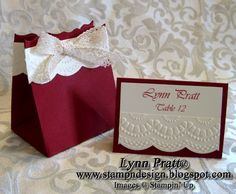 wedding favor and table card using Stampin' Up supplies.