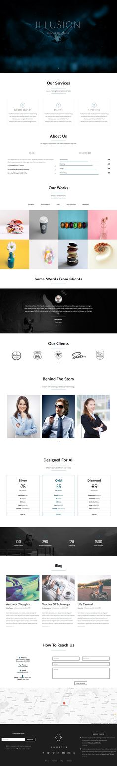 'Camelia' is a clean One Page HTML template suited for an online portfolio. The long scrolling template features a flat design and hosts several different intro header options. Options include firefly effect (with a parallax scroll), typewriter effect, slideshow, zoom effect, video background and more. Sections include skills infographic, portfolio (with Masonry layout option) with category filter, testimonial slider, pricing table, team and Google Maps integration.