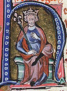 A 14th century portrait of Cnut the Great, showing him as the king of Christendom.