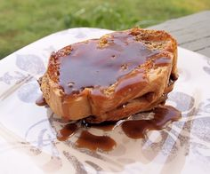 Bread Pudding with Salted Caramel -  thick bread slices, pecans & salted caramel sauce.