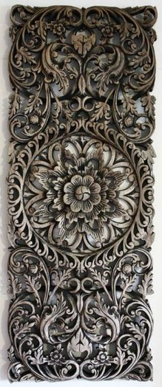 Thai wood carving was hand carved from teak wood by a skilled artisan and with an attractive, smooth, faded patina. Deco Zen, Do It Yourself Inspiration, Wooden Art, Home And Deco, Teak Wood, Rustic Wood, Wood Sculpture, Wood Doors, Wood Paneling