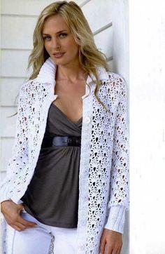 Uma ideia para casaco em crochê com aspecto rendado...          GRAFICO CLIQUE AQUI