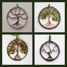 Custom Tree of Life pendant (round) wire-worked and beaded if desired