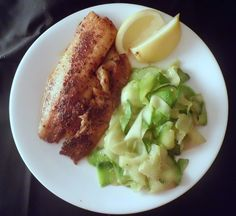 """Low Carb Blackened Tilapia with Zucchini """"Noodles"""" 