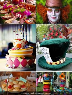 Burnt orange, hot pink and green! Topsy turvy cake and crazy teacups cool for a wedding shower!- I see this!! it would be so cute!!