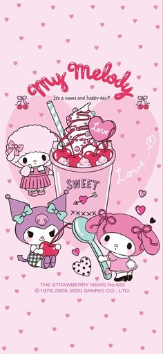Hello Kitty Iphone Wallpaper, My Melody Wallpaper, Sanrio Wallpaper, Friends Wallpaper, Kawaii Wallpaper, Cute Kawaii Drawings, Kawaii Art, Mermaid Wallpapers, Cute Wallpapers