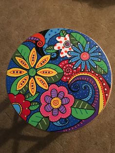 acrylic painted wooden stool