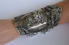 Antique .925 Sterling Silver Cuff Bracelet with Lion by CelebLuxe