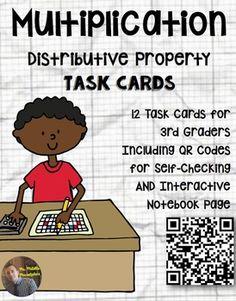 Distributive Property of Multiplication Task Card Word Problems: QR Code Math Properties, Properties Of Multiplication, Multiplication Problems, Ninth Grade, Third Grade Math, Seventh Grade, Grade 3, Waldorf Education, Physical Education
