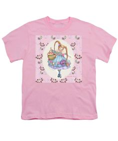 """Youth T-Shirt features the drawing """"Karli Star with Butterflies And Raspberries in Pink"""" by Nancy Lee Moran.  The white """"Fine Art America"""" logo does NOT appear on items that you purchase.  See this art on coffee mugs, tote bags, wall art, home decor items, phone cases, apparel, and greeting cards.  http://pixels.com/profiles/nancylee-moran.html ♡ Thank you from the artist!"""