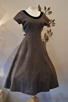 Charcoal wool dress with the rhinestones and velvet trimmed neckline