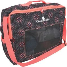 Classic Equine® Boot/Accessory Tote is a bag that is sturdy and large enough to carry your horse boots and/or all your other accessories. The screen front ventilates and allows dirt to escape. Fun pat