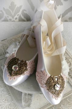 SELINA romantic Victorian, vintage inspired lace embellished fairytale ballet slipper wedding shoes, flats
