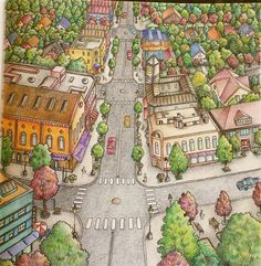 Coloring by Betty Hung - colorart.ca | Blossom Street in Debbie Macomber's Come Home to Color