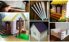 Here's a rustic cabin I did --- when I saw in the textbook my son in house from paper tube art and decided to make a detailed class