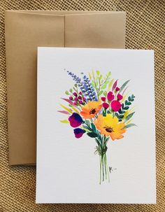 Hand-painted greeting cards with flowers - Products flowers illustration Watercolor Cards, Watercolour Painting, Floral Watercolor, Painting & Drawing, Painting Flowers, Simple Flower Painting, Flowers To Paint, Drawing Flowers, Flower Paintings