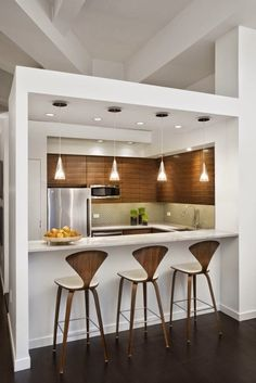 Designing Small Kitchens With Contemporary Interior Kitchen Design With Modern White Kitchen Bar Table And Stylish Bar Table Design Feat Modern Kitchen Appliances Design For Designing Of Small Kitchens With Photos ~ Popular Home Interior Decoration Kitchen Bar Design, Kitchen Layout, Interior Design Kitchen, New Kitchen, Kitchen Dining, Kitchen Small, Kitchen Decor, Kitchen Modern, Kitchen Bars