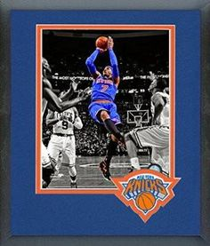 Carmelo Anthony Framed With Team Color Double Matting Ready To Hang- Awesome & Beautiful
