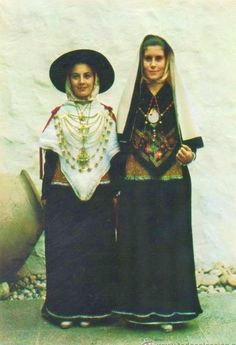 Europe   Portrait of two women wearing traditional clothes, Ibiza, Spain