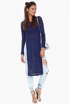 Sweater Shirt Dress in Navy | Necessary Clothing