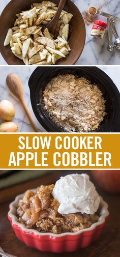 Fall in love with apple cobbler all over again – with this easy slow cooker recipe. Load apple slices into the cooker to soak up cinnamon and brown sugar, creating a warm, tender filling. Top with baking mix, oats, sugar, cinnamon and butter to create an irresistible cobbler topping. This easy fall dessert recipe is the perfect addition to a fall dinner party or thanksgiving feast.