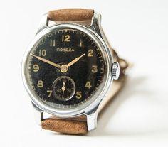 Antique men's wrist watch Pobeda  black face watch by SovietEra, $69.00