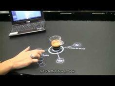 Aplicação de uma mesa interativa em um bar.