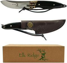Features Knife Dimensions: D x L x W 440 stainless steel Wooden handle with bone insert Blade Length: Leather sheath with Elk Ridge(tm) embossed logo and belt loop' Survival Bow, Survival Knife, Survival Weapons, Survival Tools, Survival Prepping, Cool Knives, Knives And Tools, Collector Knives, 440 Stainless Steel