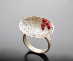 """R-A-D #146 5/31/2010 """"Domed Ring""""   Sterling silver, red emb…   Flickr by Maria Apostolou"""