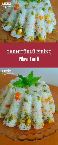 Rice Pilaf with Garnish Recipe - Salat Jambalaya, Food Garnishes, Food Categories, Dessert Recipes, Desserts, Mac And Cheese, Ham, Sushi, Food And Drink