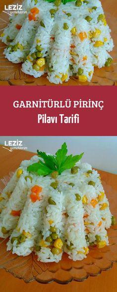 Rice Pilaf with Garnish Recipe - Salat Food Garnishes, Jambalaya, Food Categories, Dessert Recipes, Desserts, Mac And Cheese, Ham, Sushi, Food And Drink