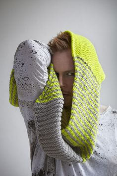 The Safety Scarf by Stephen West calls for two colors of Manos Maxima (one of our favorite yarns!). http://shop.knitterly.net/products/manos-wool-maxima?variant=781437021