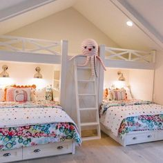 Another little peek of our bunk room. The starts Thursday and we are Come check it out! Also this home… Bed For Girls Room, Girl Room, Boy Girl Bedroom, Kids Room Design, Bed Design, Bunk Bed Rooms, Girls Bunk Beds, Twin Girls, Kid Rooms