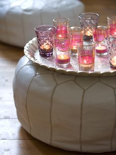 Small sidetable decorated with candles