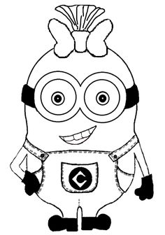 minion drawings black and white - Minion Coloring Pages
