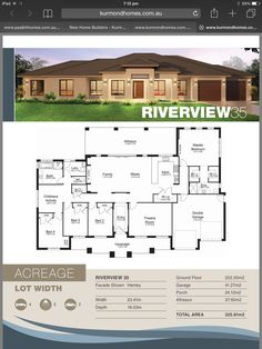 Kurmond homes Riverview 35 - Katherine Treble Kurmond homes Riverview 35 Kurmond homes Riverview 35 Free House Plans, Sims House Plans, House Layout Plans, Modern House Plans, House Layouts, House Floor Plans, 5 Bedroom House Plans, Family House Plans, Single Storey House Plans