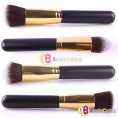 4 pcs Gold Soft Synthetic Large Cosmetic Blending Foundation Makeup Brushes Set 02 -- BuyinCoins.com