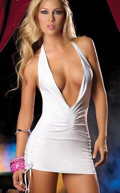 Clubwear Dresses (TB2434) Low Cut Deep V Neck Sexy Women's Mini ...
