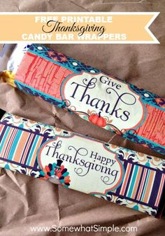 Thanksgiving Candy Bar Wrappers Printable - Somewhat Simple Chocolate Bar Wrappers, Candy Bar Wrappers, Birthday Candy Posters, Fall Candy, Candy Crafts, Paper Crafts, Holiday Treats, Thanksgiving Gifts, Thanksgiving Blessings