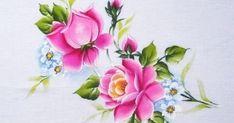 Pano de prato,pintado em tecido com rosas, risco de rosas, pintura em tecido.artesanato