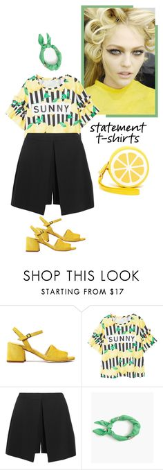 """""""Say It Loud: Slogan T-Shirts"""" by blacksky000 ❤ liked on Polyvore featuring MANGO, Alexander McQueen, J.Crew, Shiraleah and slogantshirts"""