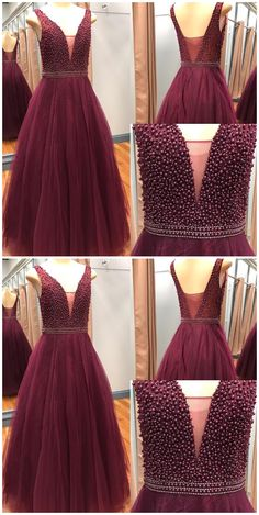 Elegant Beaded Long Prom Dress, V Neck Tulle Long Evening Dress