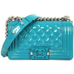 Preowned Chanel Lagoon Blue Aqua Quilted Patent Leather 2015... (€4.810) ❤ liked on Polyvore featuring bags, handbags, shoulder bags, blue, chanel, purses, blue purse, hand bags, blue shoulder handbags and quilted shoulder handbags