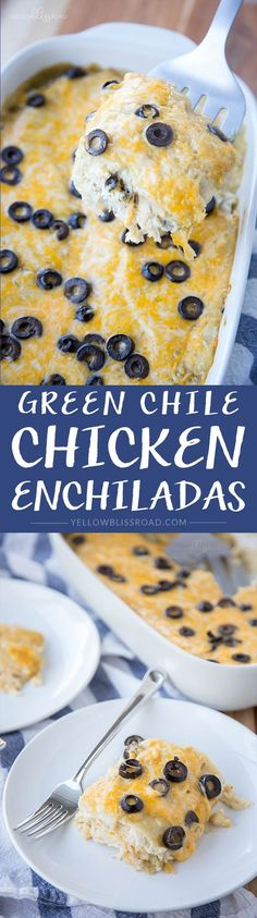 Green Chile Chicken Enchilada Casserole Recipe - an easy and filling weeknight meal!
