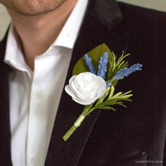 Crepe Paper and Rosemary DIY Boutonniere