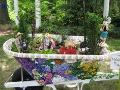 "Cultural Art Center of Douglas County - Hydrangea Festival - Fairy Miniature Wheelbarrow Garden.  "" A Walk in the Park"" - by Sherry Beggs"