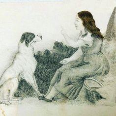 Teckning av Hilda Heijkenskjöld (1816-1849)från 1834. Ur Heijkenskjöldska samlingen, Landsarkivet i Uppsala