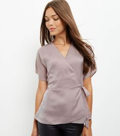 Lilac Sateen Tie Side Wrap Front Blouse  | New Look